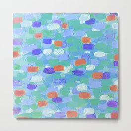 Blue & Orange Confetti Metal Print