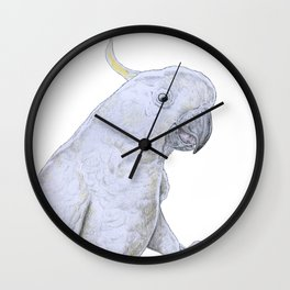 Contemplative Cockatoo Wall Clock