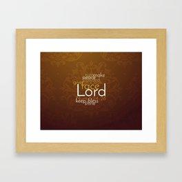 Christian Priestly Blessing Word Art on Damask Framed Art Print