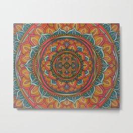 Electric Mandala Yellow Metal Print