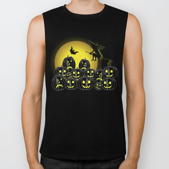 Pumpkins and witch in front of a full moon Biker Tank