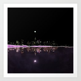 Moonlight In The City Skyline Design Art Print