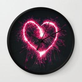 Firework Heart (Color) Wall Clock