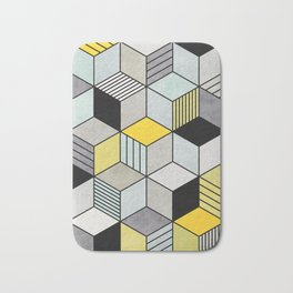 Colorful random hexagons Bath Mat