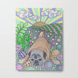 Precious Pug Puppy At Play Metal Print