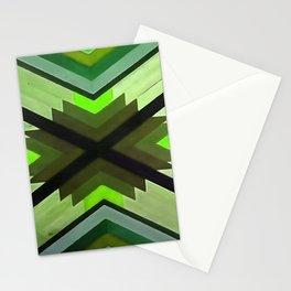 Navaho Vibes Geometric Pattern - Black Olive Lime Stationery Cards