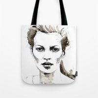 kate moss Tote Bags featuring Kate Moss by Anastasia Efthias