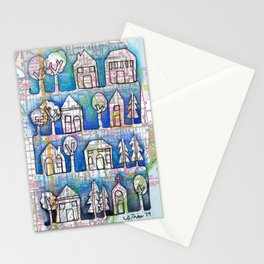 Milwaukee, WI Ombre Neighborhoods Continuous Line Drawing on vintage map Stationery Cards
