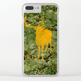 Deer on Green Camo Clear iPhone Case