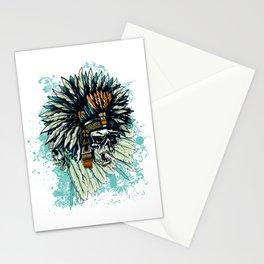 AZTEC WARRIOR SKULL SQUARE Stationery Cards