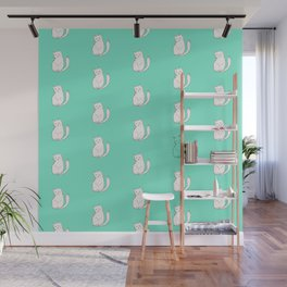 White Cats around Mint Wall Mural