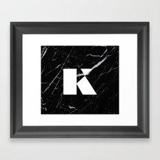 Black Marble - Alphabet K Framed Art Print