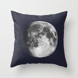 Waxing Gibbous Moon on Navy Throw Pillow