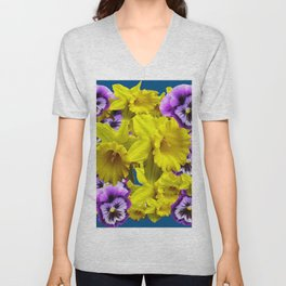 YELLOW SPRING DAFFODILS & LILAC PANSIES BLUE COLOR Unisex V-Neck