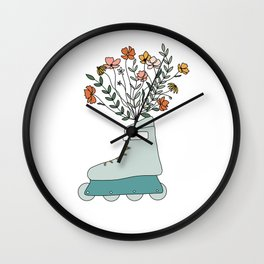 Inline Skate Like A Wildflower Wall Clock