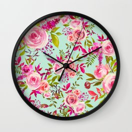 Watercolor pink violet lucite green modern floral Wall Clock