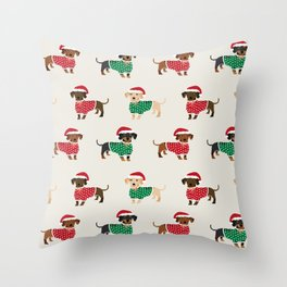 Dachshund christmas sweater holiday santa hat doxie dachsie lovers Throw Pillow