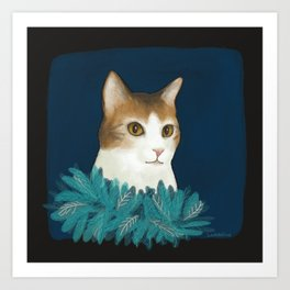Kitty in a feather boa Art Print