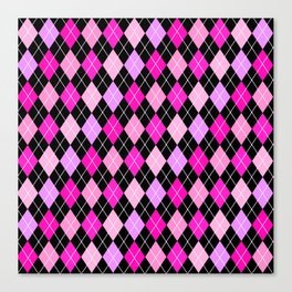 Pink Lavender Black Argyle Canvas Print