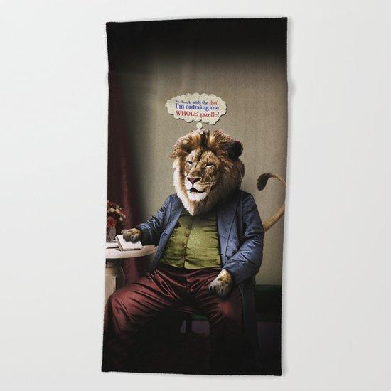 Hungry Lion Beach Towel