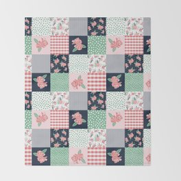 Cheater Quilt basic trendy floral pattern navy pink modern nursery florals cheater quilts Throw Blanket