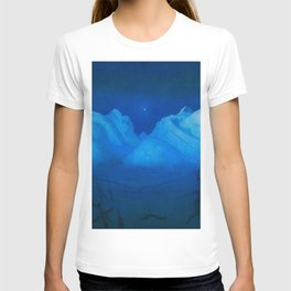 North Star Rising - Winter Night in the Alpine Mountains by Harald Sohlberg T-shirt