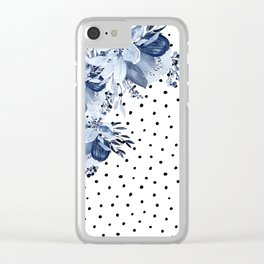 Boho Blue Flowers and Polka Dots Clear iPhone Case