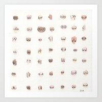 boobs Art Prints featuring boobs by Julia Heffernan