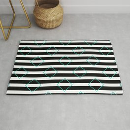 Black and White Stripes And Cyan Blue Squares Pattern Rug