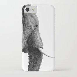 Black and white elephant portrait iPhone Case