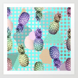 Pineapple Summer Rainbow Rose Gold Art Print