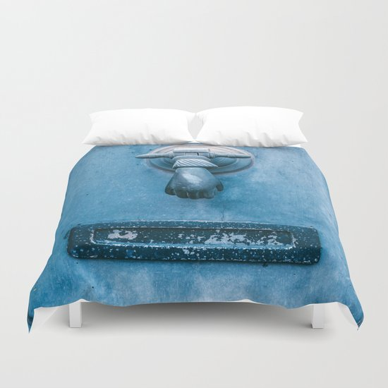 Blue Doorknocker Duvet Cover