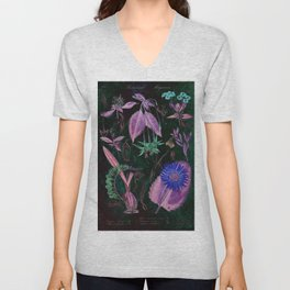 Botanical Study #3, Vintage Botanical Illustration Collage Art Unisex V-Neck