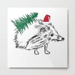 Santa  Hedgehog Metal Print