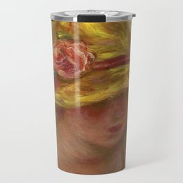 """Auguste Renoir """"Etude de femme au chapeau jaune"""" Travel Mug"""