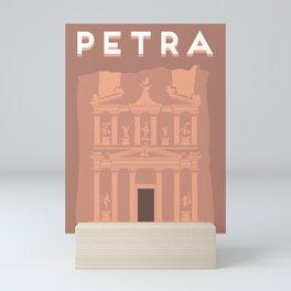 The Treasury at Petra Block Type Mini Art Print