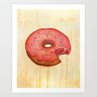 donut Art Prints featuring Donut by colorlabo
