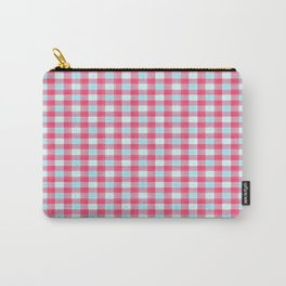 Pink Car, Cloudy Skies, Raindrops: Plaid Carry-All Pouch