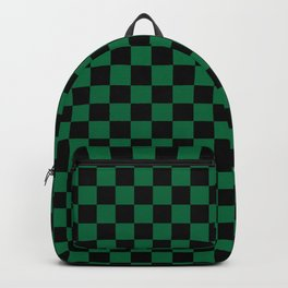 Black and Cadmium Green Checkerboard Backpack