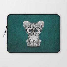 Cute Snow Leopard Cub Wearing Glasses on Teal Blue Laptop Sleeve