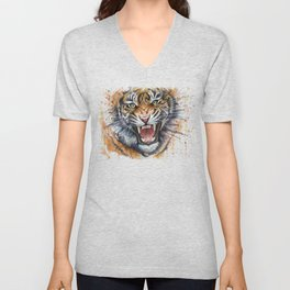 Tiger Roaring Wild Jungle Animal Unisex V-Neck