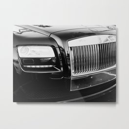 Rolls Grille // Black Luxury Car Close Up Photography Expensive Ultra Wealthy Autos Metal Print