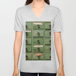 Old wooden cabinet with drawers Unisex V-Neck