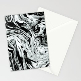 marble black and white minimal suminagashi japanese spilled ink abstract art Stationery Cards