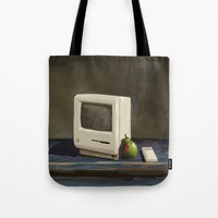 computer Tote Bags featuring Pear Computer by Uri Tuchman