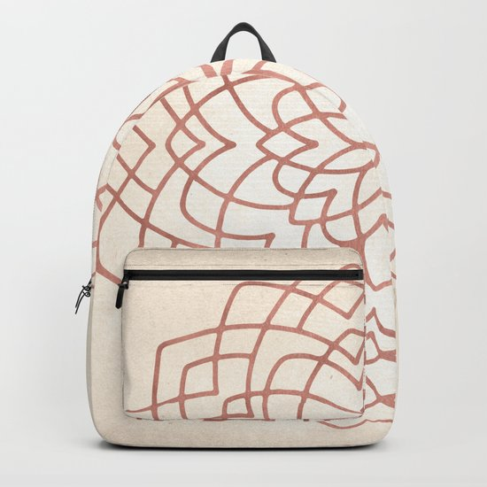 Mandala Floral Geometry Rose Gold on Cream Backpack
