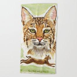 Noel Bobcat - Run Free Beach Towel