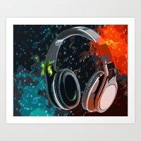 headphones Art Prints featuring Headphones by Gift Of Signs