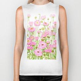 pink buttercup ranunculus field watercolor Biker Tank