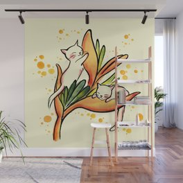 Yellow Heliconia and Cat Twins Wall Mural